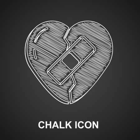 Chalk Healed broken heart or divorce icon isolated on black background. Shattered and patched heart. Love symbol. Valentines day. Vector