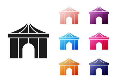 Black Circus tent icon isolated on white background. Carnival camping tent. Amusement park. Set icons colorful. Vector
