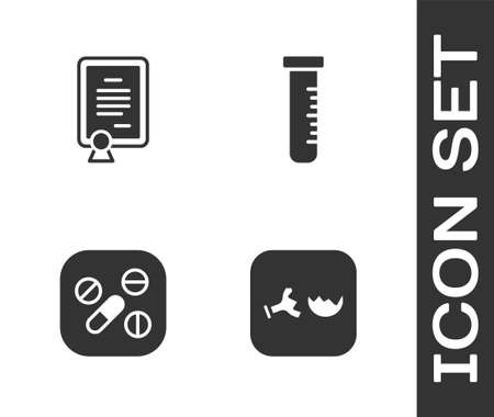 Set Broken flask, Certificate template, Medicine pill or tablet and Test tube and icon. Vector