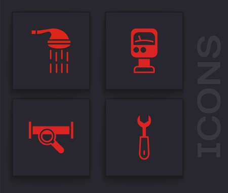 Set Wrench spanner, Shower, Pressure water meter and Industry metallic pipe icon. Vector