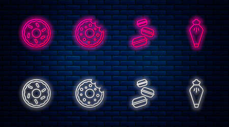 Set line Donut, Macaron cookie, and Pastry bag. Glowing neon icon on brick wall. Vector