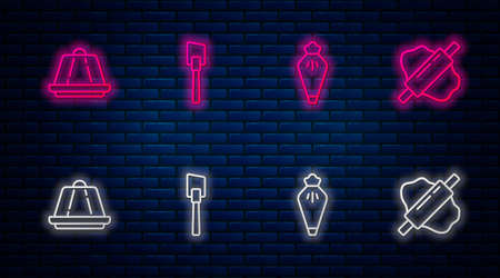 Set line Spatula, Pastry bag, Pudding custard and Rolling pin on dough. Glowing neon icon on brick wall. Vector 向量圖像