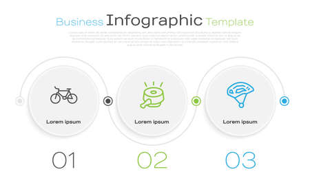 Set line Bicycle, bell and helmet. Business infographic template. Vector