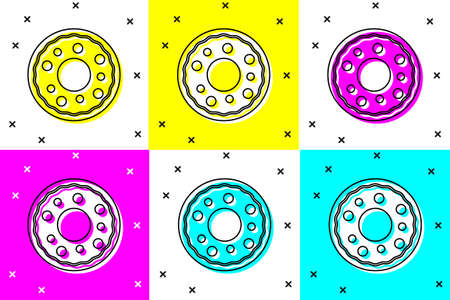 Set Donut with sweet glaze icon isolated on color background. Vector