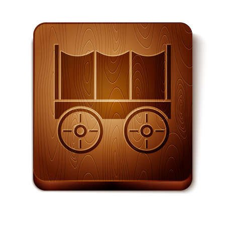 Brown Wild west covered wagon icon isolated on white background. Wooden square button. Vector Stock Illustratie