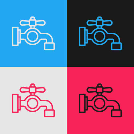 Pop art line Water tap icon isolated on color background. Vector