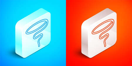 Isometric line Lasso icon isolated on blue and red background. Silver square button. Vector