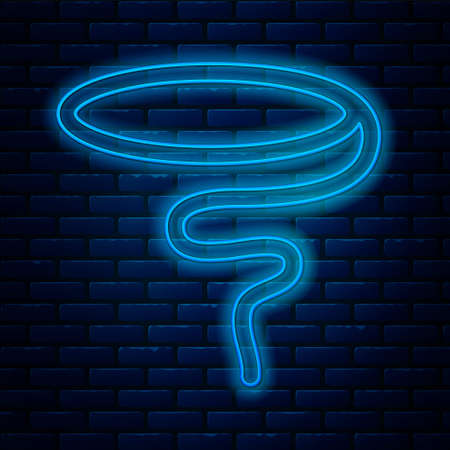 Glowing neon line Lasso icon isolated on brick wall background. Vector