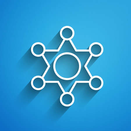 White line Hexagram sheriff icon isolated on blue background. Police badge icon. Long shadow. Vector