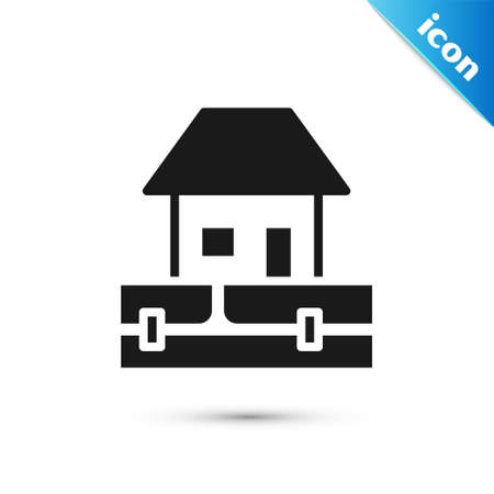 Grey Water supply pipes and house icon isolated on white background. Vector