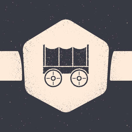 Grunge Wild west covered wagon icon isolated on grey background. Monochrome vintage drawing. Vector