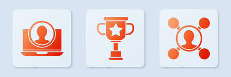 Set Award cup, Create account screen and Share. White square button. Vector