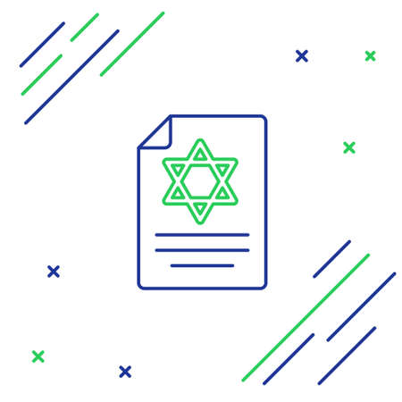 Line Torah scroll icon isolated on white background. Jewish Torah in expanded form. Star of David symbol. Old parchment scroll. Colorful outline concept. Vector