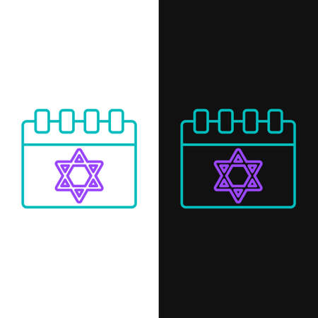 Line Jewish calendar with star of david icon isolated on white and black background. Hanukkah calendar day. Colorful outline concept. Vector