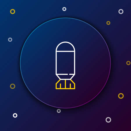 Line Aviation bomb icon isolated on blue background. Rocket bomb flies down. Colorful outline concept. Vector