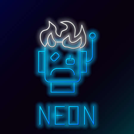 Glowing neon line Robot burned out icon isolated on black background. Colorful outline concept. Vector