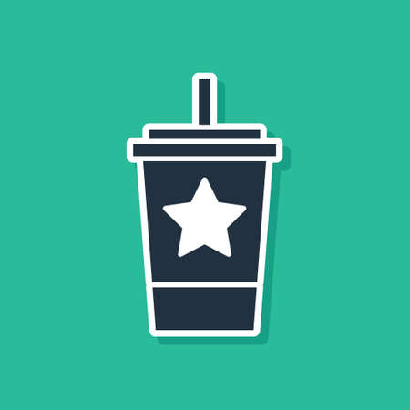 Blue Paper glass with drinking straw and water icon isolated on green background. Soda drink glass. Fresh cold beverage symbol. Vector