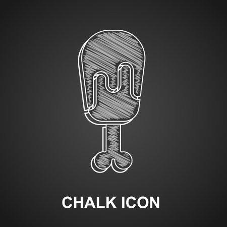 Chalk Chicken leg icon isolated on black background. Chicken drumstick. Vector