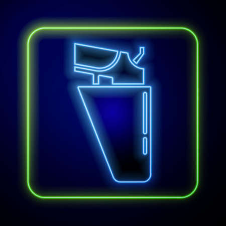 Glowing neon Revolver gun in holster icon isolated on blue background. Vector