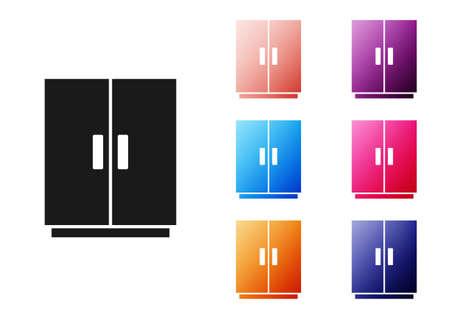 Black Wardrobe icon isolated on white background. Set icons colorful. Vector