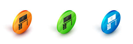 Isometric TV table stand icon isolated on background. Circle button. Vector