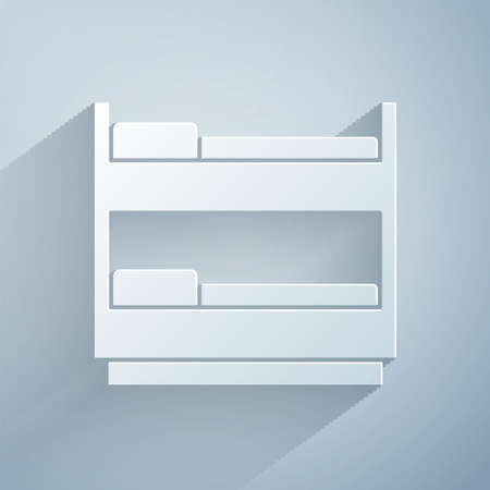 Paper cut Bunk bed icon isolated on grey background. Paper art style. Vector