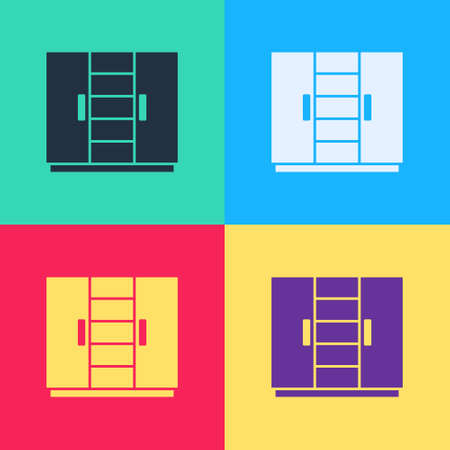 Pop art Wardrobe icon isolated on color background. Vector