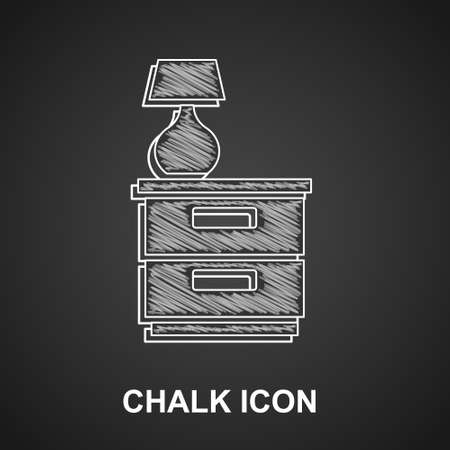 Chalk Furniture nightstand with lamp icon isolated on black background. Vector