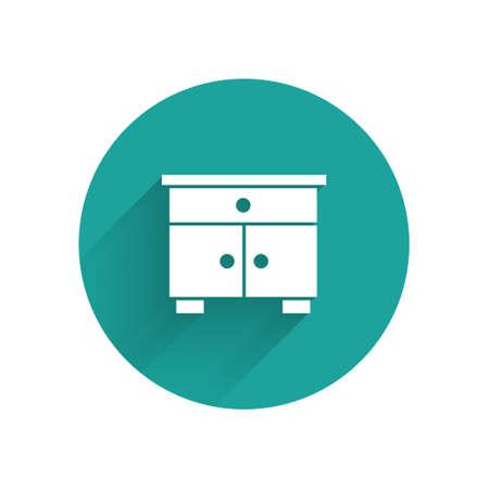 White Furniture nightstand icon isolated with long shadow. Green circle button. Vector Ilustración de vector