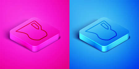 Isometric line Jug glass with water icon isolated on pink and blue background. Kettle for water. Glass decanter with drinking water. Square button. Vector