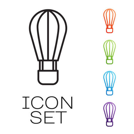 Black line Hot air balloon icon isolated on white background. Air transport for travel. Set icons colorful. Vector