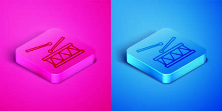 Isometric line Drum with drum sticks icon isolated on pink and blue background. Music sign. Musical instrument symbol. Square button. Vector