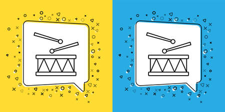 Set line Drum with drum sticks icon isolated on yellow and blue background. Music sign. Musical instrument symbol. Vector
