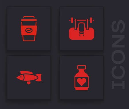 Set Vitamin pill, Coffee cup to go, Bench with barbel and Fish icon. Vector
