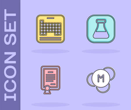 Set Molecule, Periodic table, Certificate template and Test tube and flask icon. Vector
