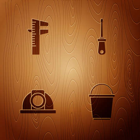 Set Bucket, Calliper or caliper and scale, Worker safety helmet and Screwdriver on wooden background. Vector