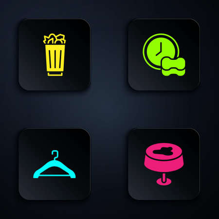 Set Stain on the tablecloth, Full trash can, Hanger wardrobe and Washing dishes. Black square button. Vector Vektorgrafik