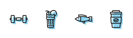 Set line Fish, Dumbbell, Fresh smoothie and Coffee cup to go icon. Vector 矢量图像