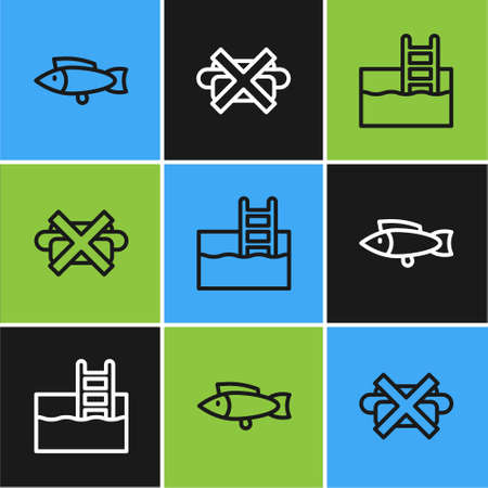 Set line Fish, Swimming pool with ladder and No junk food icon. Vector