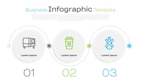 Set line Bed, Coffee cup to go and No alcohol. Business infographic template. Vector