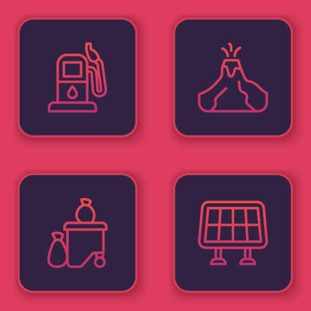 Set line Petrol or gas station, Full dustbin, Volcano eruption with lava and Solar energy panel. Blue square button. Vector