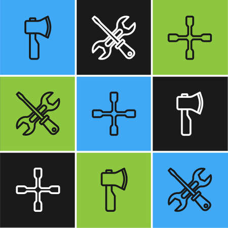 Set line Wooden axe, Wheel wrench and Screwdriver and icon. Vector