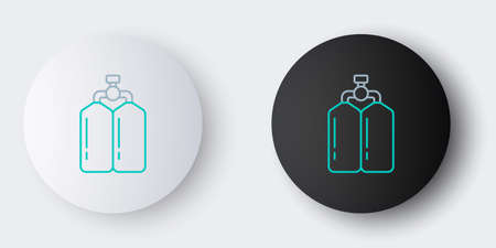 Line Aqualung icon isolated on grey background. Oxygen tank for diver. Diving equipment. Extreme sport. Diving underwater equipment. Colorful outline concept. Vector