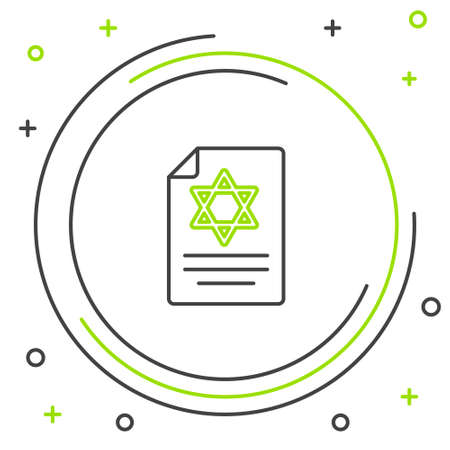 Line Torah scroll icon isolated on white background. Jewish Torah in expanded form. Star of David symbol. Old parchment scroll. Colorful outline concept. Vector Illusztráció