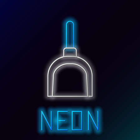 Glowing neon line Dustpan icon isolated on black background. Cleaning scoop services. Colorful outline concept. Vector