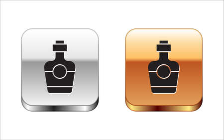 Black Tequila bottle icon isolated on white background. Mexican alcohol drink. Silver and gold square buttons. Vector