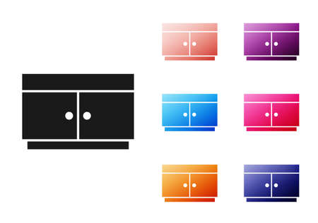 Black Chest of drawers icon isolated on white background. Set icons colorful. Vector