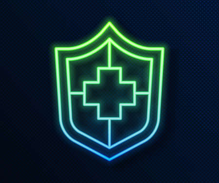 Glowing neon line Life insurance with shield icon isolated on blue background. Security, safety, protection, protect concept. Vector Illusztráció