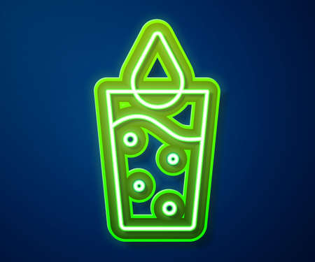 Glowing neon line Glass with water icon isolated on blue background. Soda glass. Vector
