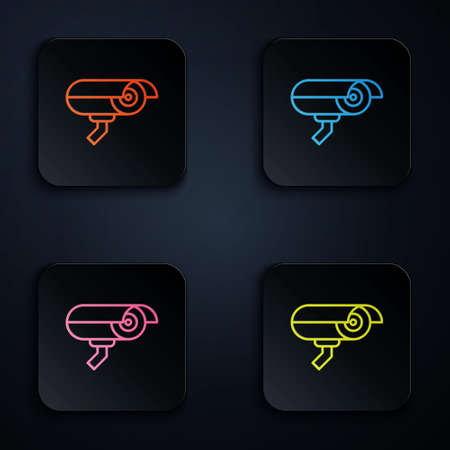 Color neon line Security camera icon isolated on black background. Set icons in square buttons. Vector Illusztráció